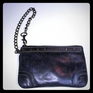 FOSSIL BLACK LEATHER WRISTLET WITH CHAIN STRAP